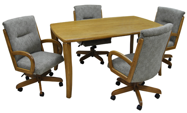 Dinette with 36x60 wood Table 265 Caster Chairs