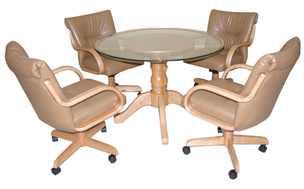 280 Caster Chairs With Glass Top Table