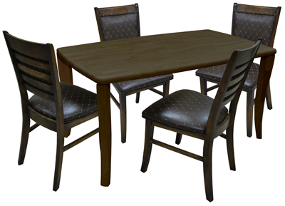 Dinette with Rectangle Table Ladder Back Side Chairs