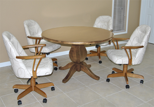 4 w226 Caster Chairs Wood Table