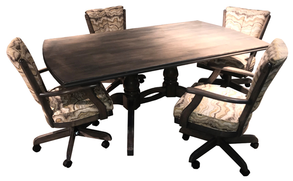 Classic Caster Chairs 42x72 Wood Table