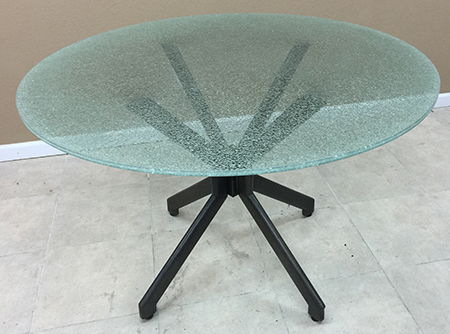 Alan Metal Crackle Glass Round Table
