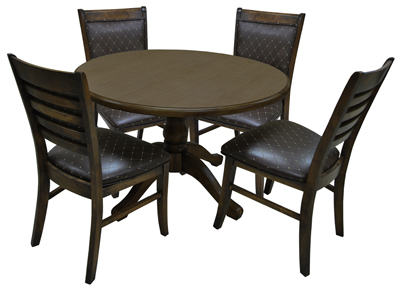 Dinette with Round Table Ladder Back Side Chairs