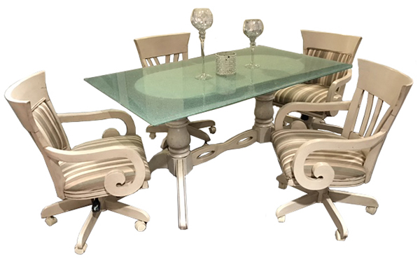 Leaf/Wave Caster Chairs 36x60 Crackle Table
