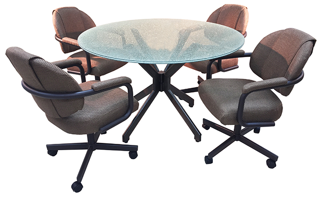 M-70 Caster Chairs 42 Crackle Table