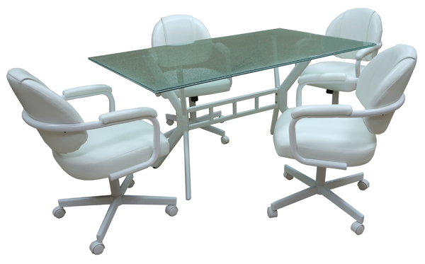 M-70 Caster Chairs 36x60 Crackle Table