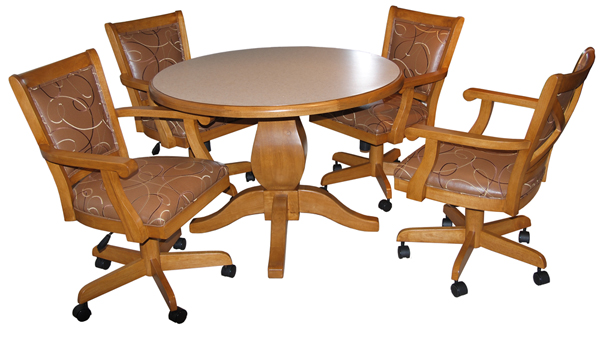 Dinette Mango Caster Chairs with Round Table