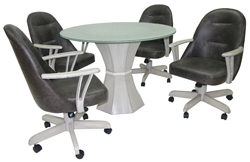 236 Caster Chairs Crackle Glass Table