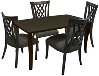 Dinette with 36x60 wood Table Tango Side Chairs