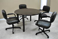 4 m111 Caster Chairs Round Table