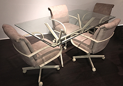 M-60 Caster Chairs 36x60 Glass Table