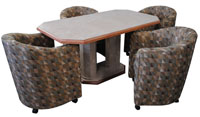 Dinette with Barrel Chairs Wood Edge Mica Table