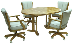 Classic Caster Chairs 42x42x60 Solid Wood Table