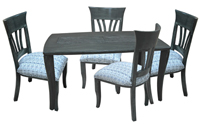 Dinette with 36x60 Grey Rectangle Table Wave Side Chairs