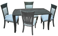 Dinette with 36x60 wood Grey Table Wave Side Chairs