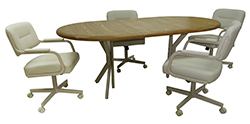 M-110 Caster Chairs 42x60x78 Wood Table