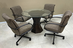 M-60 Caster Chairs Clear Glass Table