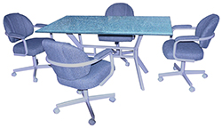 M-70 Caster Chairs 36x60 Glass Table
