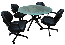 M-70 Caster Chairs 48 Glass Table