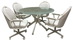 M-80 Caster Chairs Shattered Glass Table