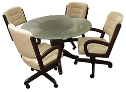 w260 Caster Chairs Crackle Glass Table