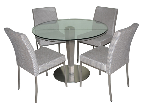 Tobias Designs Stainless Sherry Chairs Round Table