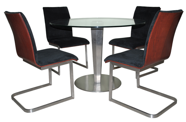 Tobias Designs Stainless Todd Chairs Round Table