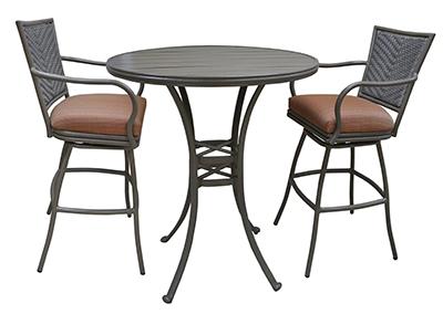 Tobias Designs Outdoor Aluminum Bar Stool Erin Pub Set