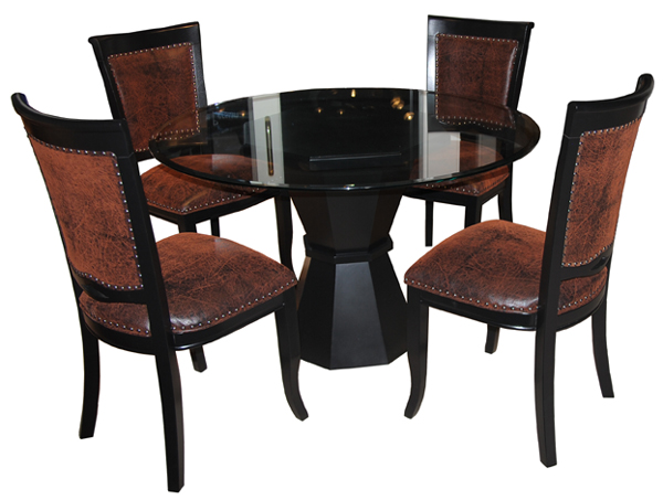 400 Side Chairs, Glass Table