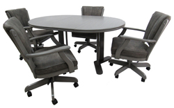 Grey Classic Caster Chairs 42x42x60 Wood Table