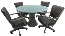 Grey Classic Caster Chairs 48 Crackle Glass Table