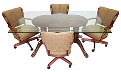 Classic Caster Chairs 42 x 72 Glass Table