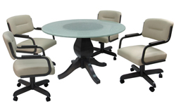 M-115 Caster Chairs 48inch Glass Table