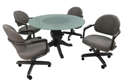 M-79 Caster Chairs 48inch Glass Table