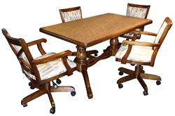 Mango Caster Chairs 36x60 Wood Table