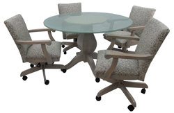 Mango Plus Caster Chairs 48 Crackle Glass Table