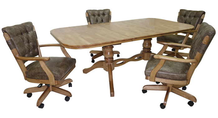 Vintage Caster Chairs 42x60x78 Wood Table