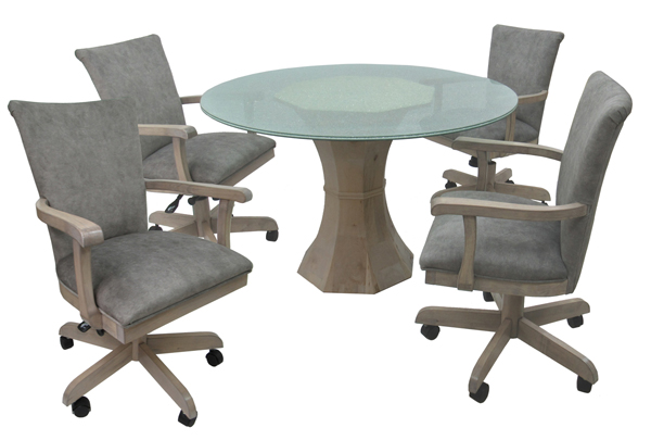 W-700 Caster Chairs 48 Crackle Glass Table
